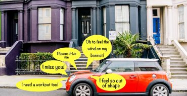 Mini parked outside a house needing some car maintenance and service